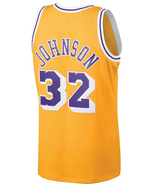 Mitchell   Ness Men s Magic Johnson Los Angeles Lakers Hardwood Classic  Swingman ... 594106e7a