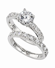 Cubic Zirconia (3 ct. t.w.) Engagement Ring Set in Fine Silver Plate