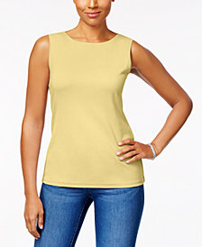 Karen Scott Petite Cotton Boat-Neck Tank, Created for Macy's