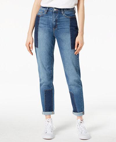 Buffalo David Bitton Patched Two-Tone Girlfriend Jeans