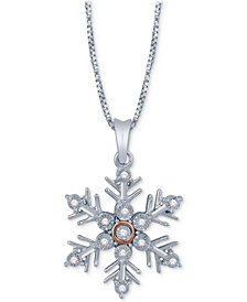 Diamond Accent Snowflake Pendant Necklace in Sterling Silver & 14k Rose Gold