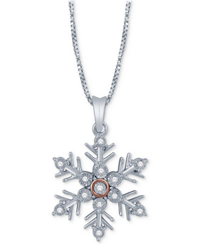 Diamond accent snowflake pendant necklace in sterling silver 14k diamond accent snowflake pendant necklace in sterling silver 14k rose gold aloadofball Images