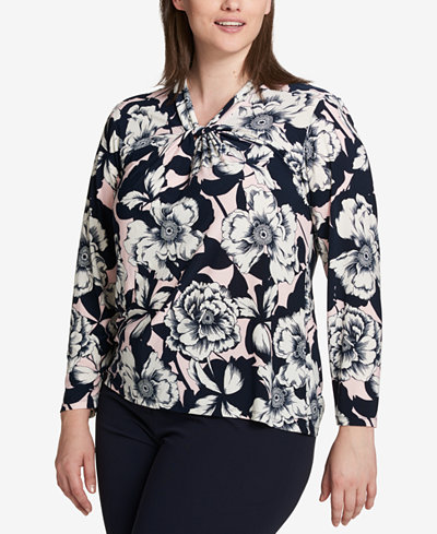 Tommy Hilfiger Plus Size Printed Twist-Neck Top, Created for Macy's