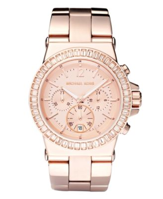 Michael Kors Women\u0026#39;s Chronograph Dylan Rose Gold-Tone Stainless Steel Bracelet Watch 43mm MK5412