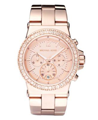 Michael Kors Women\u0026#39;s Chronograph Dylan Rose Gold-Tone Stainless Steel Bracelet Watch 43mm MK5412