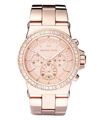 Michael Kors Women's Chronograph Dylan Rose Gold-Tone Stainless Steel Bracelet Watch 43mm MK5412