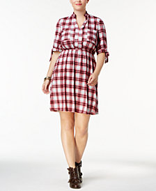 Monteau Trendy Plus Size Plaid Shirtdress