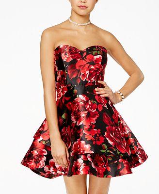 B Darlin Juniors' Strapless Floral-Print Fit & Flare Dress