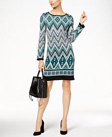 NY Collection Petite Geo-Print Jacquard Sheath Dress