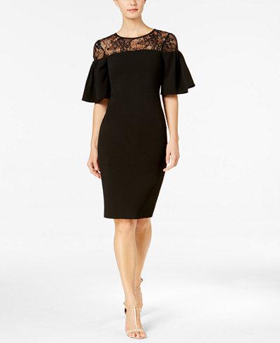 Calvin Klein Sequined Lace-Yoke Ruffle Dress