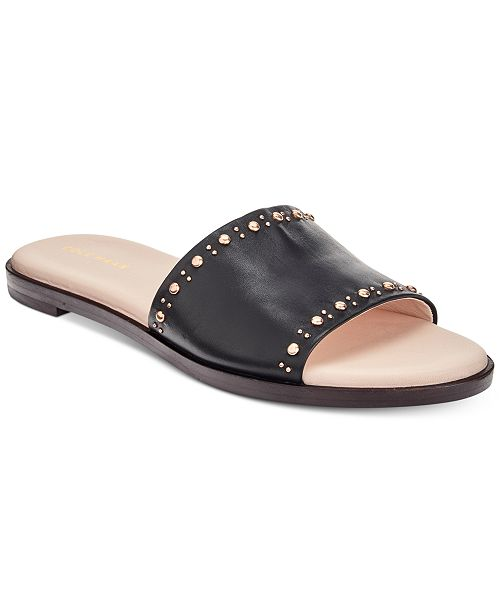 bde612e657c0 Cole Haan Anica Stud Slip-On Flat Sandals   Reviews - Sandals ...