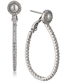 Carolee Silver-Tone Pavé & Imitation Pearl Drop Hoop Earrings