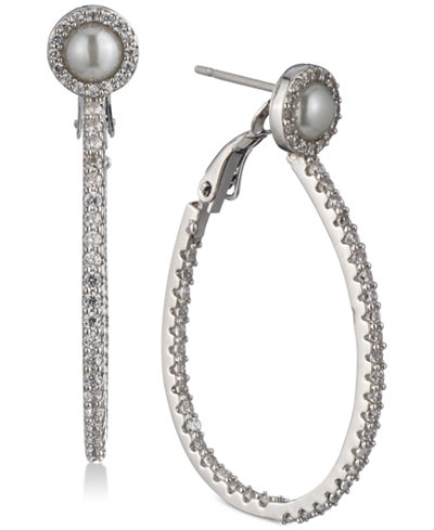 Carolee Silver-Tone Pavé & Imitation Pearl Drop Hoop Earrings