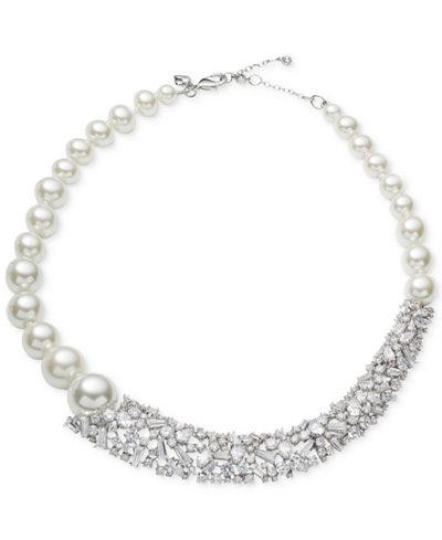 Carolee Silver-Tone Crystal & Imitation Pearl Collar Necklace