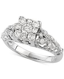 Diamond Cluster Openwork Engagement Ring (7/8 ct. t.w.) in 14k White Gold
