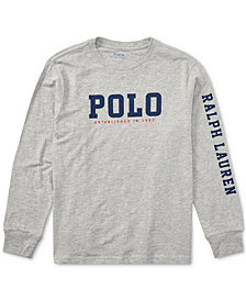 Ralph Lauren Big Boys Graphic-Print Long-Sleeve Cotton T-Shirt