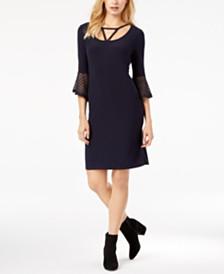 Love Scarlett Petite Lace-Cuff Sheath Dress, Created for Macy's
