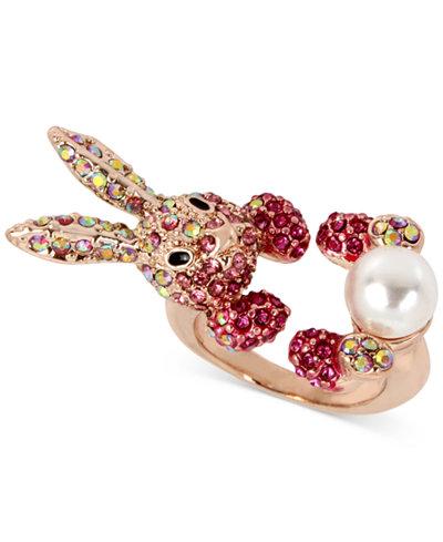 Betsey Johnson Rose Gold-Tone Pink Pavé & Imitation Pearl Bunny Ring