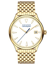 Movado Women's Swiss Heritage Series Calendoplan Gold-Tone Stainless Steel Bracelet Watch 36mm