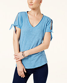I.N.C. Cotton Tie-Sleeve T-Shirt, Created for Macy's
