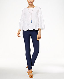 Cable & Gauge Embroidered Top & ECI Straight-Leg Pants