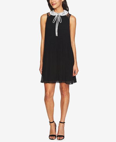 CeCe Lace-Collar Pleated Shift Dress