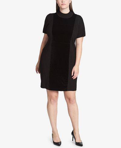 Calvin Klein Plus Size Velvet-Front Sweater Dress