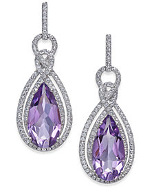 Amethyst (6 ct. t.w.) & White Topaz (1/2 ct. t.w.) Drop Earrings in Sterling Silver