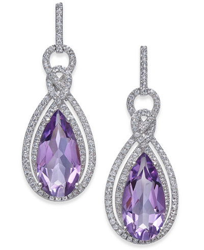 Amethyst (6 ct. t.w.) & White Topaz (1/2 ct. t.w.) Drop Earrings in Sterling Silver
