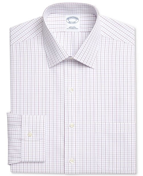 Brooks Brothers Men's Classic/Regular Fit Non-Iron Ainsley Broadcloth Purple Check Dress Shirt
