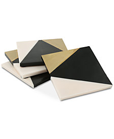 CLOSEOUT! Thirstystone Geometric Resin & Metal Coasters, Set of 4
