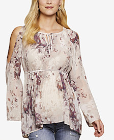 Jessica Simpson Maternity Floral-Print Cold-Shoulder Top