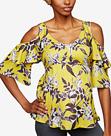 A Pea In The Pod Maternity Printed Cold-Shoulder Top