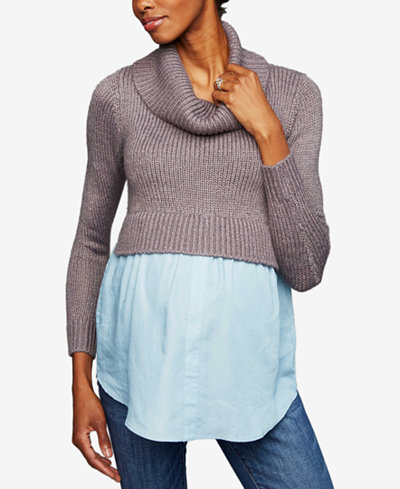 A Pea In The Pod Maternity Cowl-Neck Layered-Look Sweater