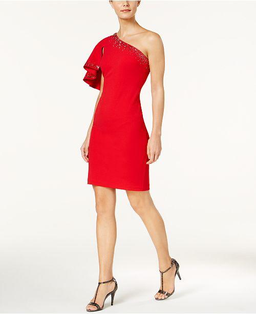 Calvin Klein Petite One-Shoulder Ruffle-Sleeve Dress