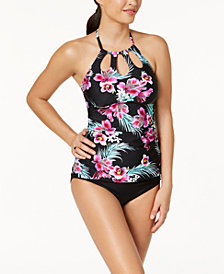 Island Escape Orchid Paradise High-Neck Cutout Tankini Top & High-Waist Control-Top Bikini Bottoms, Created for Macy's