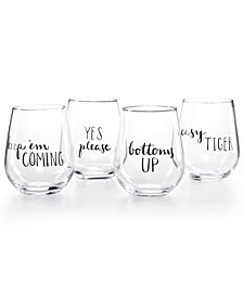 CLOSEOUT! The Cellar Words 4-Pc. Stemless Wine Glass Set, Created for Macy's