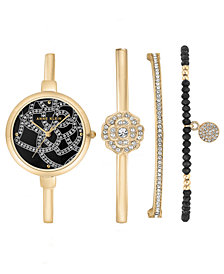 Anne Klein Women's Gold-Tone Bangle Bracelet Watch 32mm Gift Set