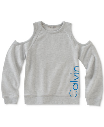Calvin Klein Cold-Shoulder Logo Sweatshirt, Big Girls