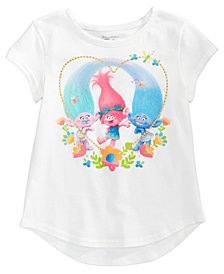 Trolls by DreamWorks Glitter-Hear T-Shirt, Little Girls (4-6X)