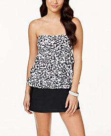 Island Escape Cape May Printed Tiered Bandeau Tankini Top  & High-Waist Swim Skirt, Created for Macy's