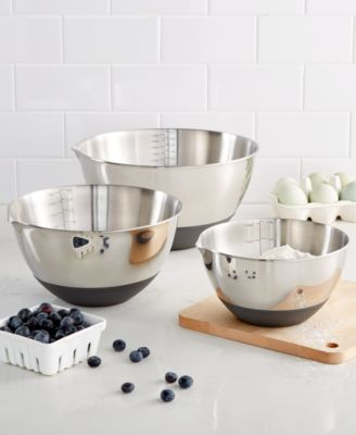 Set of 3 Non-Skid Mixing Bowls with Measurements, Created for Macy's