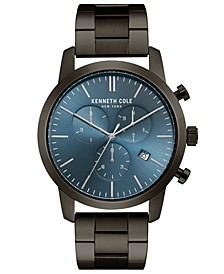 Men's Chronograph Gunmetal Stainless Steel Bracelet Watch 44mm