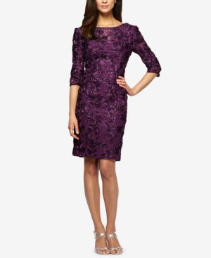 Alex Evenings Embroidered Lace Sequined Sheath Dress 1650778