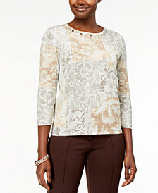 Alfred Dunner Eskimo Kiss Petite Embellished Printed Sweater