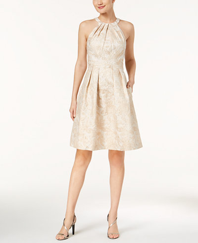 Calvin Klein Metallic Brocade Halter Dress