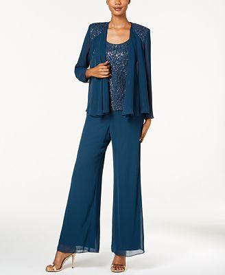 SL Fashions 3-Pc. Sequined Lace Pantsuit