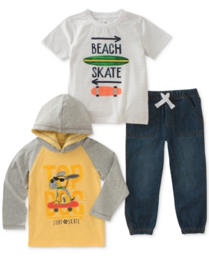 Kids Headquarters 3Pc Top Dog Hoodie GraphicPrint TShirt  Jeans Baby Boys (024 months)