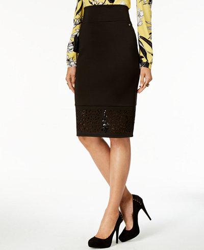 Thalia Sodi Perforated Pencil Skirt, Created for Macy's