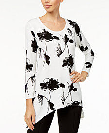 Anne Klein Embellished Printed Asymmetrical-Hem Sweater